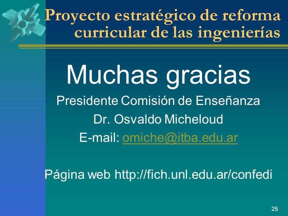 25 Proyecto estratégico de reforma curricular de las ingenierías Muchas gracias Presidente Comisión de Enseñanza Dr.