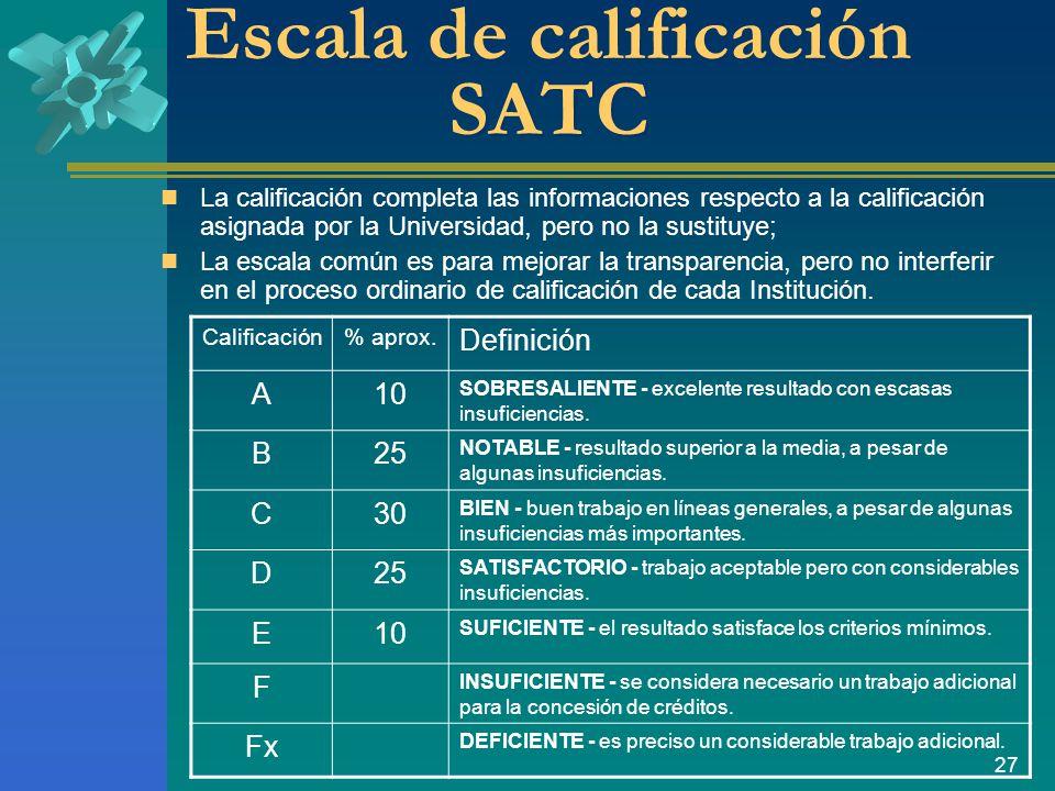 27 Escala de calificación SATC La calificación completa las informaciones respecto a la calificación asignada por la Universidad, pero no la sustituye; La escala común es para mejorar la transparencia, pero no interferir en el proceso ordinario de calificación de cada Institución.