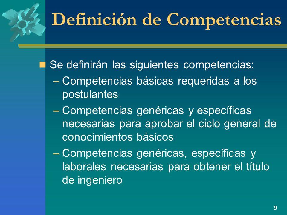 9 Definición de Competencias Se definirán las siguientes competencias: –Competencias básicas requeridas a los postulantes –Competencias genéricas y específicas necesarias para aprobar el ciclo general de conocimientos básicos –Competencias genéricas, específicas y laborales necesarias para obtener el título de ingeniero