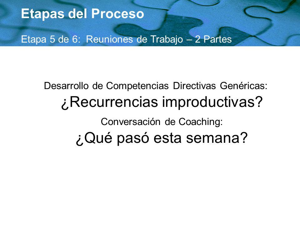 Etapas del Proceso Etapa 5 de 6: Reuniones de Trabajo – 2 Partes Desarrollo de Competencias Directivas Genéricas: ¿Recurrencias improductivas? Convers