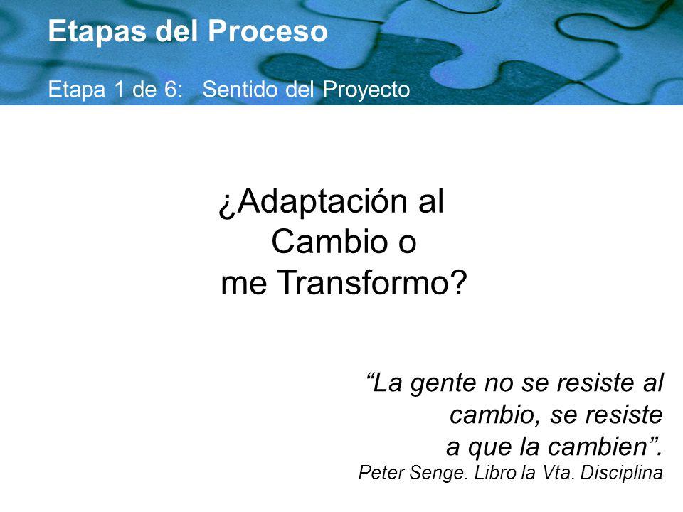 ¿Adaptación al Cambio o me Transformo? Etapas del Proceso Etapa 1 de 6: Sentido del Proyecto La gente no se resiste al cambio, se resiste a que la cam