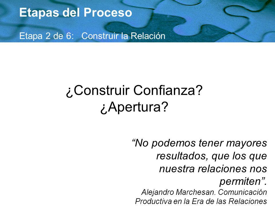 ¿Construir Confianza? ¿Apertura? Etapas del Proceso Etapa 2 de 6: Construir la Relación No podemos tener mayores resultados, que los que nuestra relac