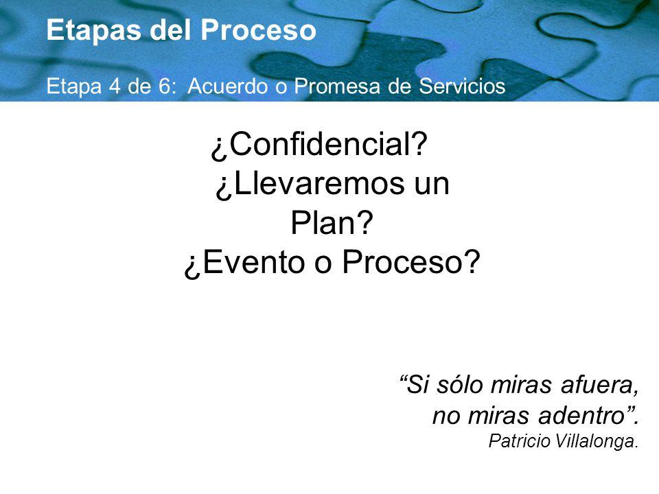¿Confidencial? ¿Llevaremos un Plan? ¿Evento o Proceso? Etapas del Proceso Etapa 4 de 6: Acuerdo o Promesa de Servicios Si sólo miras afuera, no miras