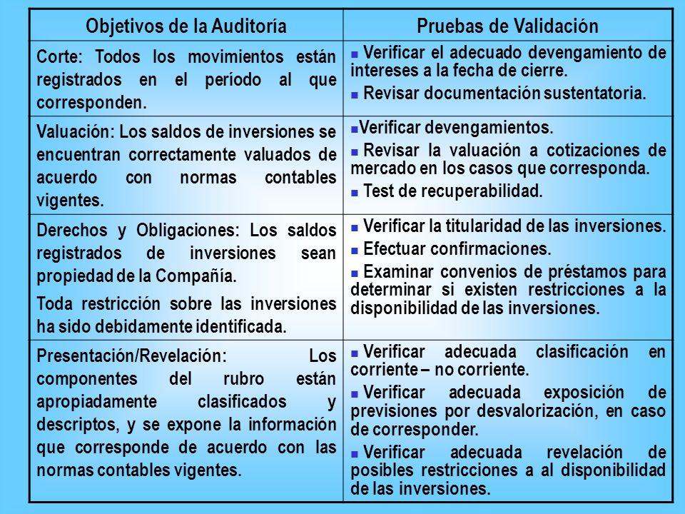 Objetivos de la AuditoríaPruebas de Validación Integridad: Todo las inversiones de propiedad de la Compañía a la fecha del balance han sido registrada