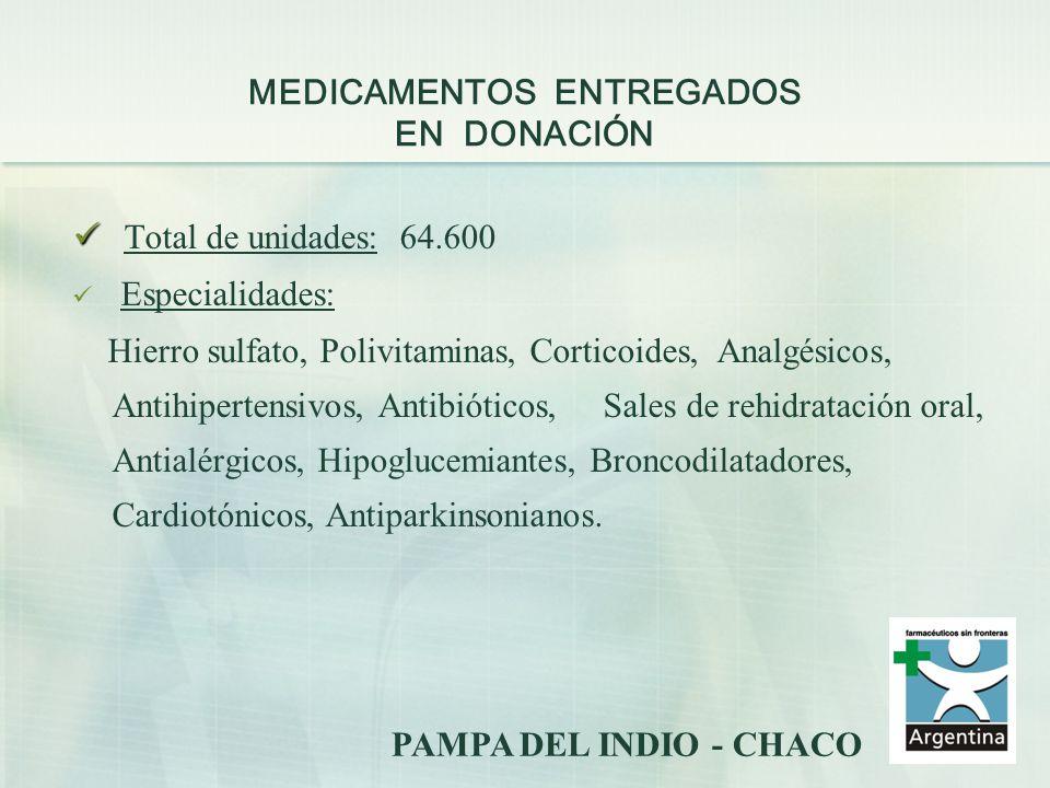 MEDICAMENTOS ENTREGADOS EN DONACIÓN Total de unidades: 64.600 Especialidades: Hierro sulfato, Polivitaminas, Corticoides, Analgésicos, Antihipertensiv