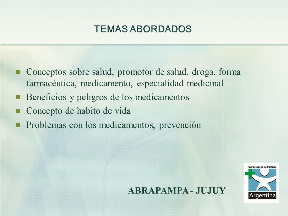 TEMAS ABORDADOS Conceptos sobre salud, promotor de salud, droga, forma farmacéutica, medicamento, especialidad medicinal Beneficios y peligros de los