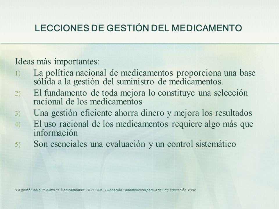 LECCIONES DE GESTIÓN DEL MEDICAMENTO Ideas más importantes: 1) La política nacional de medicamentos proporciona una base sólida a la gestión del sumin