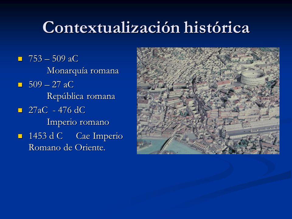 Contextualización histórica 753 – 509 aC Monarquía romana 753 – 509 aC Monarquía romana 509 – 27 aC República romana 509 – 27 aC República romana 27aC
