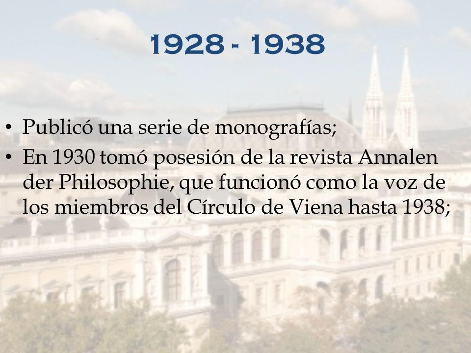 1924 1928 Comienzan los coloquios habituales del viernes por la noche, Círculo de Viena, como iniciativa de Herbert Feigl y Friederich Waismann y con