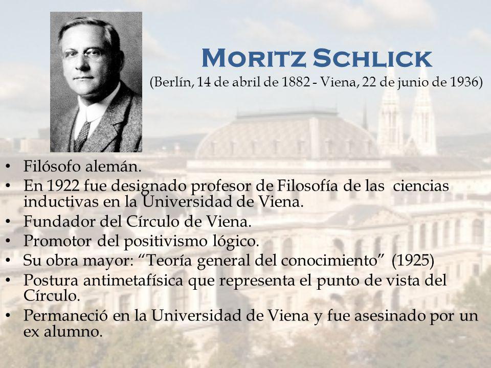 Miembros del Círculo de Viena Moritz Schlick Otto Neurath Rudolf Carnap Friedrich Waismann Hans Hahn Gustav Bergmann Herbert Feigl Phillipp Frank Kurt