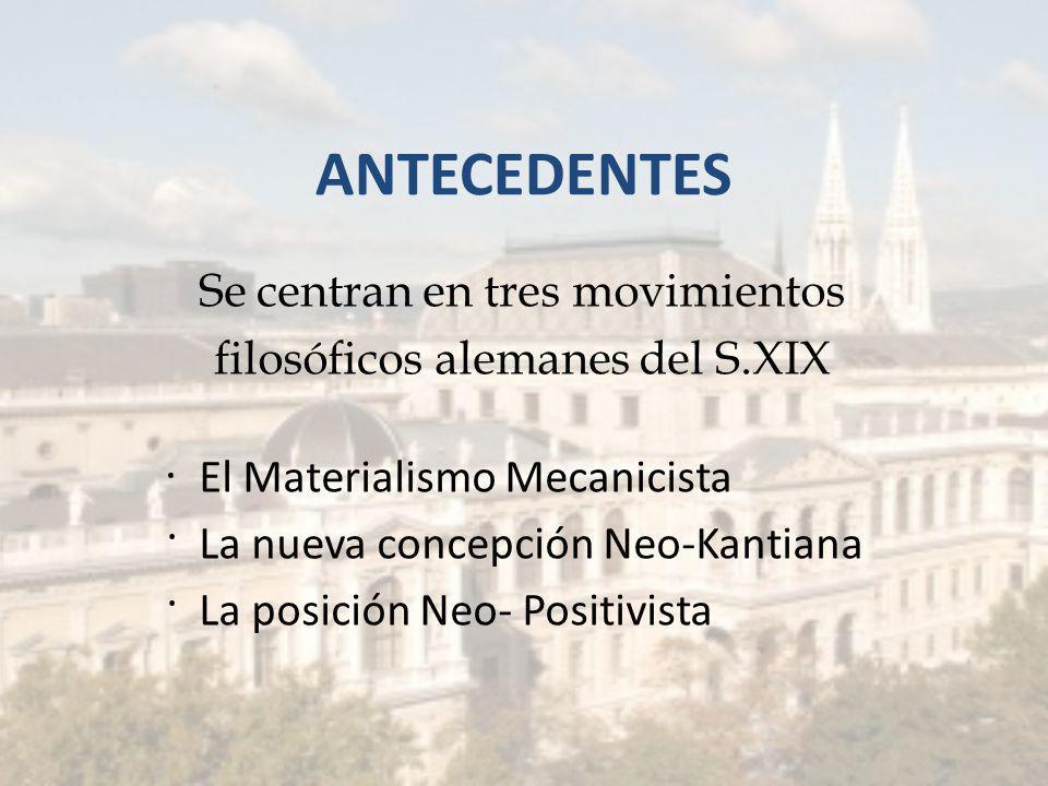 ANTECEDENTES Se centran en tres movimientos filosóficos alemanes del S.XIX · El Materialismo Mecanicista · La nueva concepción Neo-Kantiana · La posición Neo- Positivista