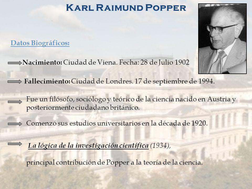 Criticas al Circulo de Viena Sentido Gnoseológico: Popper: rechaza la noción empirista clásica de la inducción. LO UNIVERSAL NO PUEDE SER LA SUMA DE C