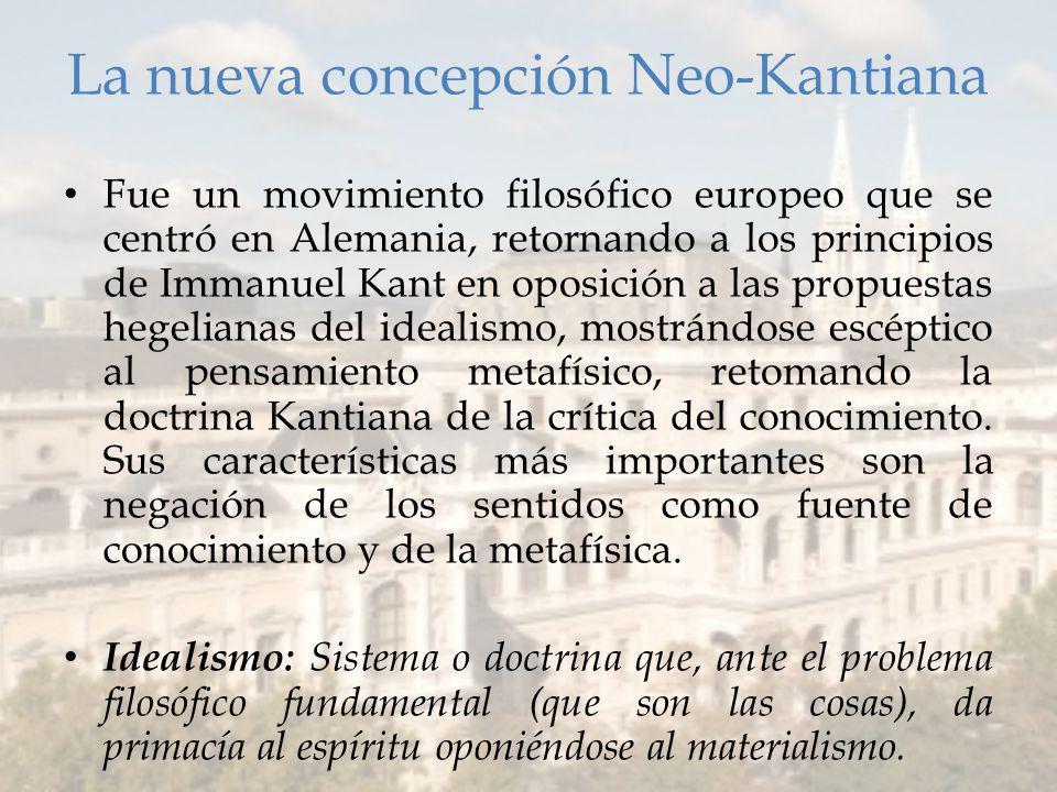 La nueva concepción Neo-Kantiana Fue un movimiento filosófico europeo que se centró en Alemania, retornando a los principios de Immanuel Kant en oposición a las propuestas hegelianas del idealismo, mostrándose escéptico al pensamiento metafísico, retomando la doctrina Kantiana de la crítica del conocimiento.