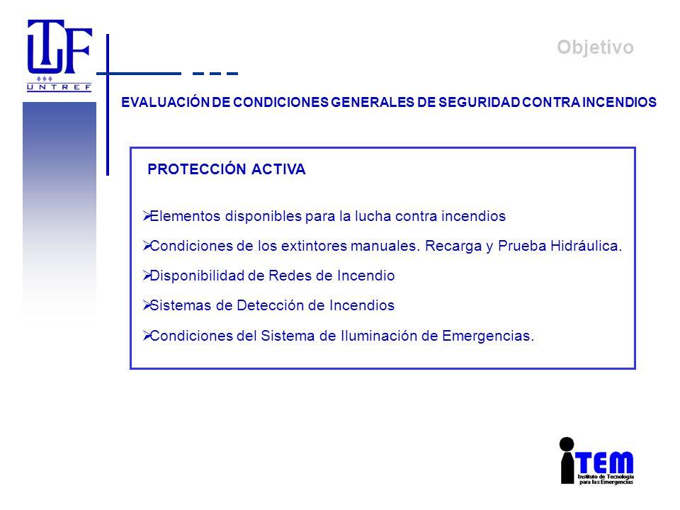 Objetivo EVALUACIÓN DE CONDICIONES GENERALES DE SEGURIDAD CONTRA INCENDIOS PROTECCIÓN ACTIVA Elementos disponibles para la lucha contra incendios Cond