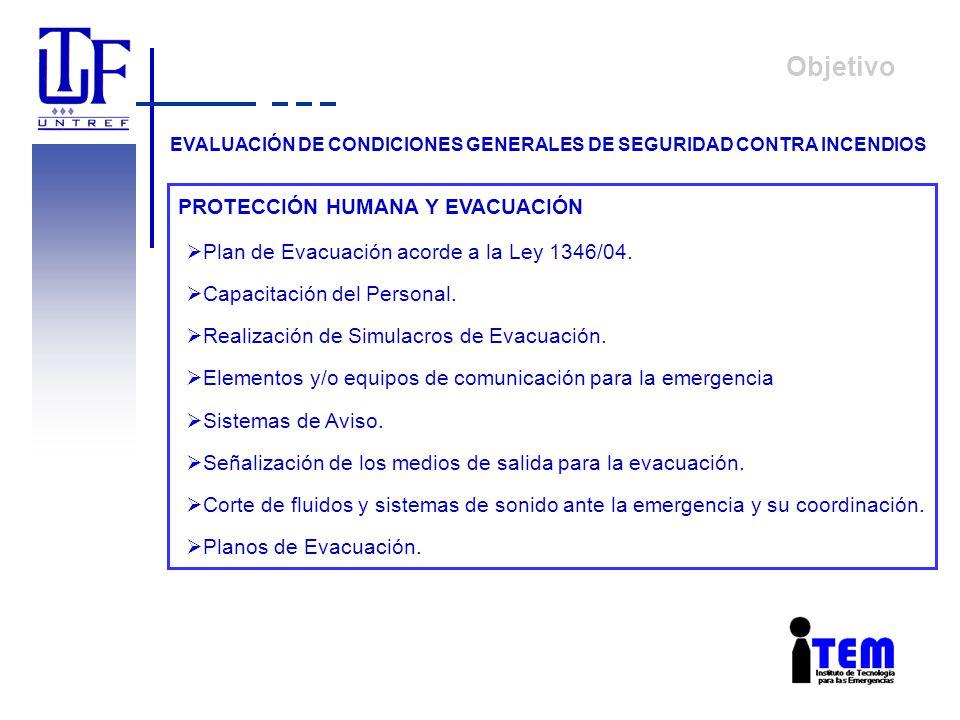 Objetivo EVALUACIÓN DE CONDICIONES GENERALES DE SEGURIDAD CONTRA INCENDIOS Plan de Evacuación acorde a la Ley 1346/04. Capacitación del Personal. Real