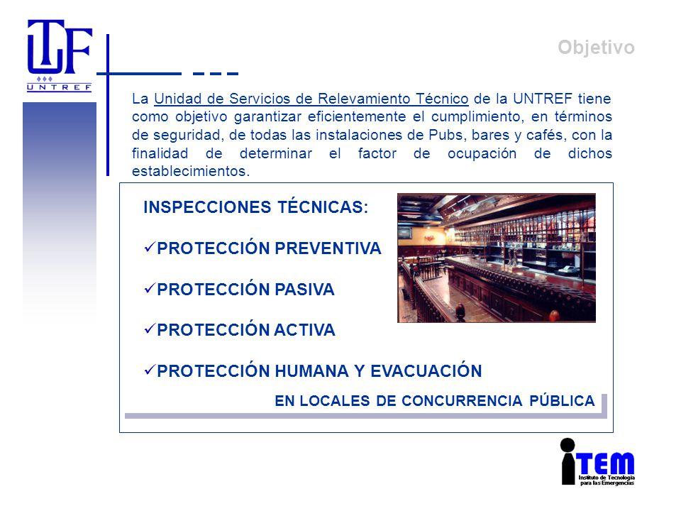 Objetivo INSPECCIONES TÉCNICAS: PROTECCIÓN PREVENTIVA PROTECCIÓN PASIVA PROTECCIÓN ACTIVA PROTECCIÓN HUMANA Y EVACUACIÓN EN LOCALES DE CONCURRENCIA PÚ