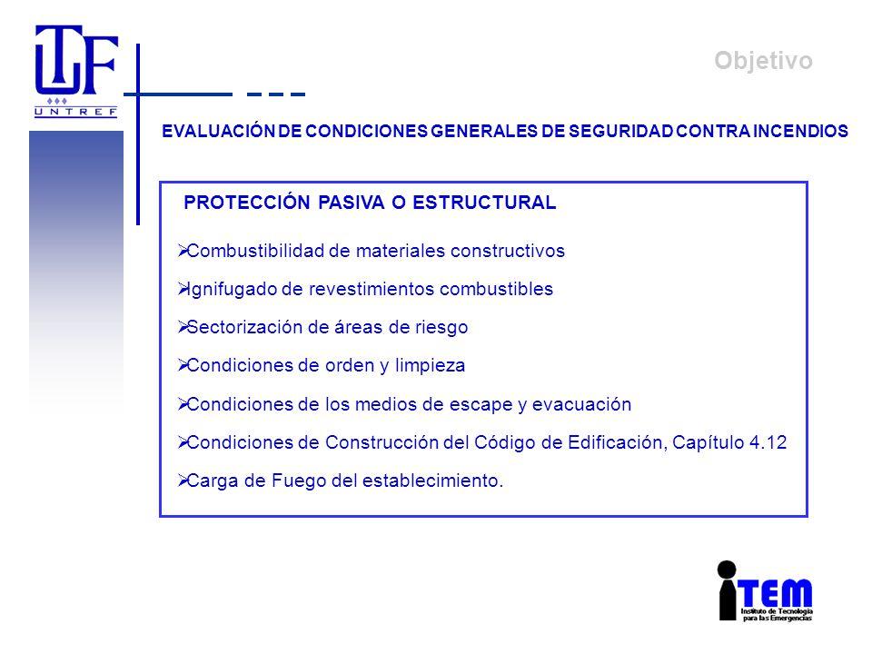 Objetivo EVALUACIÓN DE CONDICIONES GENERALES DE SEGURIDAD CONTRA INCENDIOS PROTECCIÓN PASIVA O ESTRUCTURAL Combustibilidad de materiales constructivos