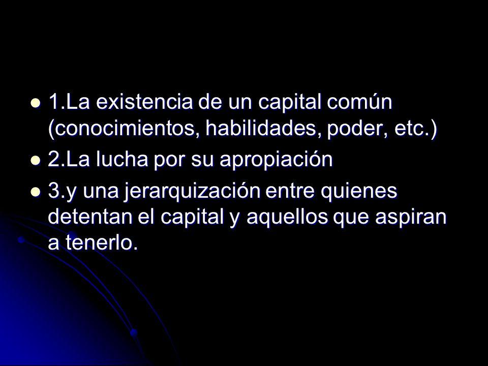 1.La existencia de un capital común (conocimientos, habilidades, poder, etc.) 1.La existencia de un capital común (conocimientos, habilidades, poder,