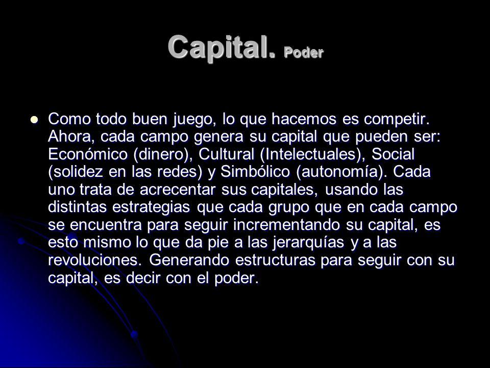 Capital. Poder Como todo buen juego, lo que hacemos es competir. Ahora, cada campo genera su capital que pueden ser: Económico (dinero), Cultural (Int