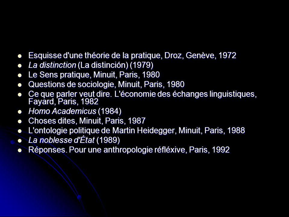 Esquisse d'une théorie de la pratique, Droz, Genève, 1972 Esquisse d'une théorie de la pratique, Droz, Genève, 1972 La distinction (La distinción) (19