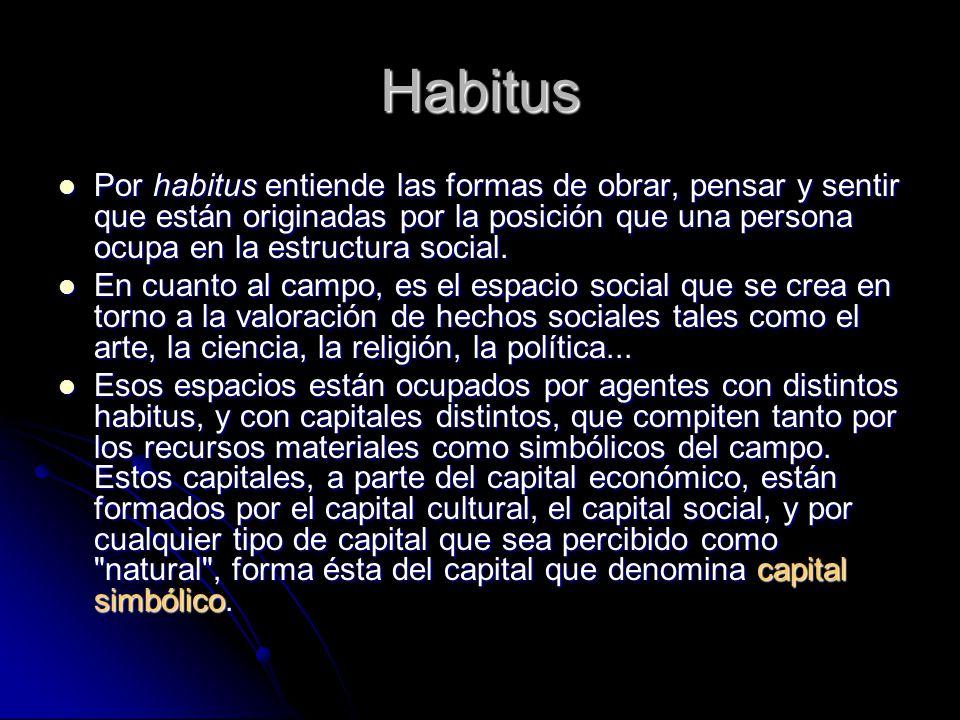 Habitus Por habitus entiende las formas de obrar, pensar y sentir que están originadas por la posición que una persona ocupa en la estructura social.
