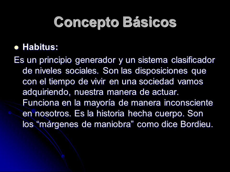 Concepto Básicos Habitus: Habitus: Es un principio generador y un sistema clasificador de niveles sociales. Son las disposiciones que con el tiempo de