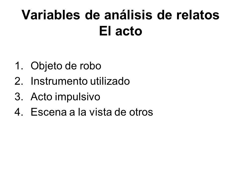 Variables de análisis de relatos El acto 1.Objeto de robo 2.Instrumento utilizado 3.Acto impulsivo 4.Escena a la vista de otros