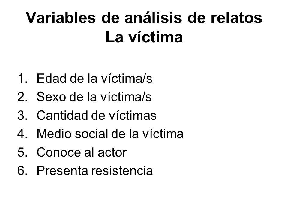 Variables de análisis de relatos La víctima 1.Edad de la víctima/s 2.Sexo de la víctima/s 3.Cantidad de víctimas 4.Medio social de la víctima 5.Conoce al actor 6.Presenta resistencia