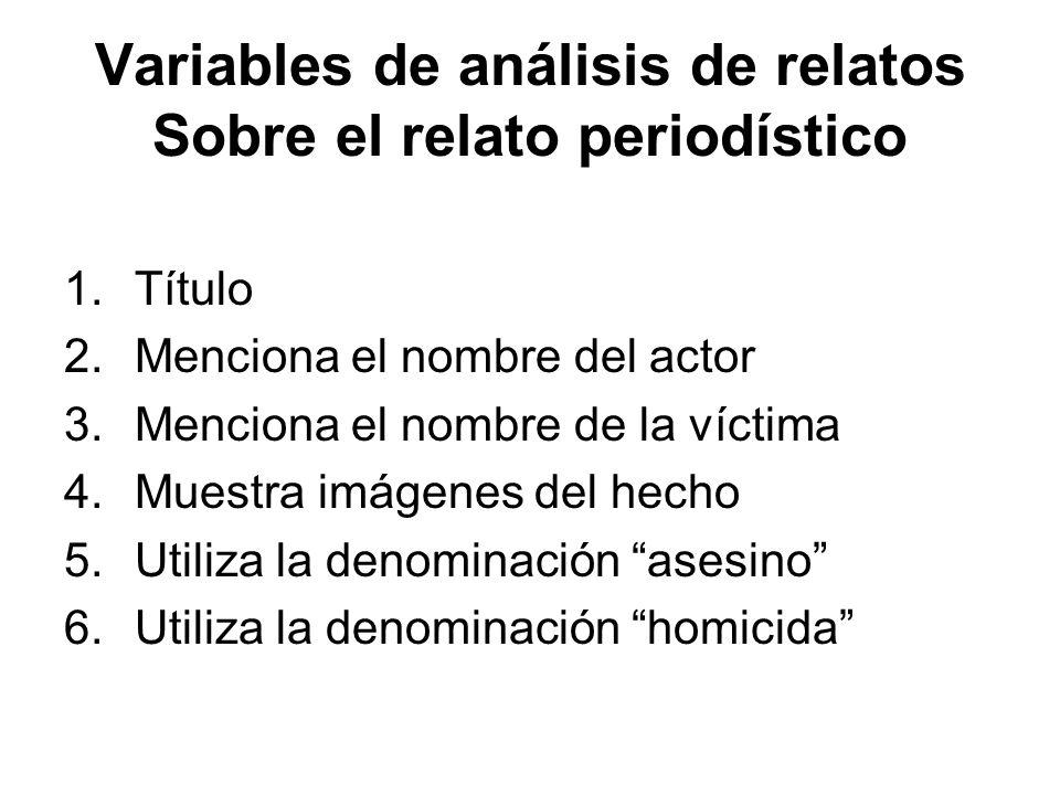 Variables de análisis de relatos Sobre el relato periodístico 1.Título 2.Menciona el nombre del actor 3.Menciona el nombre de la víctima 4.Muestra imá