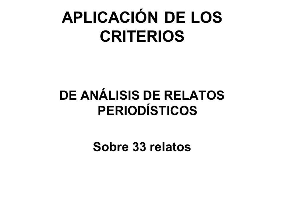 APLICACIÓN DE LOS CRITERIOS DE ANÁLISIS DE RELATOS PERIODÍSTICOS Sobre 33 relatos