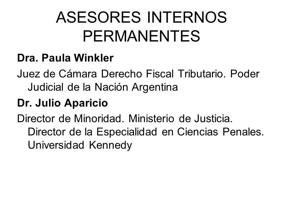 ASESORES INTERNOS PERMANENTES Dra. Paula Winkler Juez de Cámara Derecho Fiscal Tributario. Poder Judicial de la Nación Argentina Dr. Julio Aparicio Di