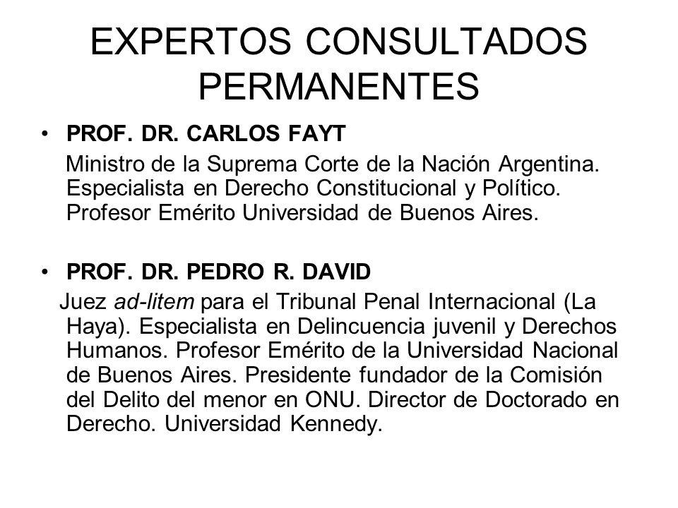 EXPERTOS CONSULTADOS PERMANENTES PROF. DR. CARLOS FAYT Ministro de la Suprema Corte de la Nación Argentina. Especialista en Derecho Constitucional y P