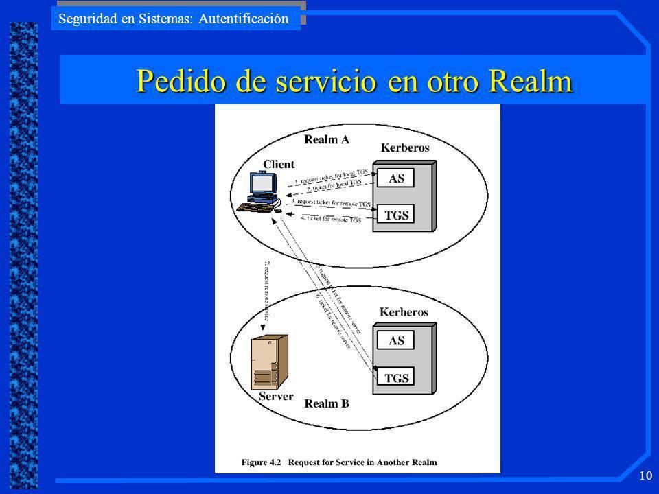 Seguridad en Sistemas: Autentificación 9 Kerberos: Vista General
