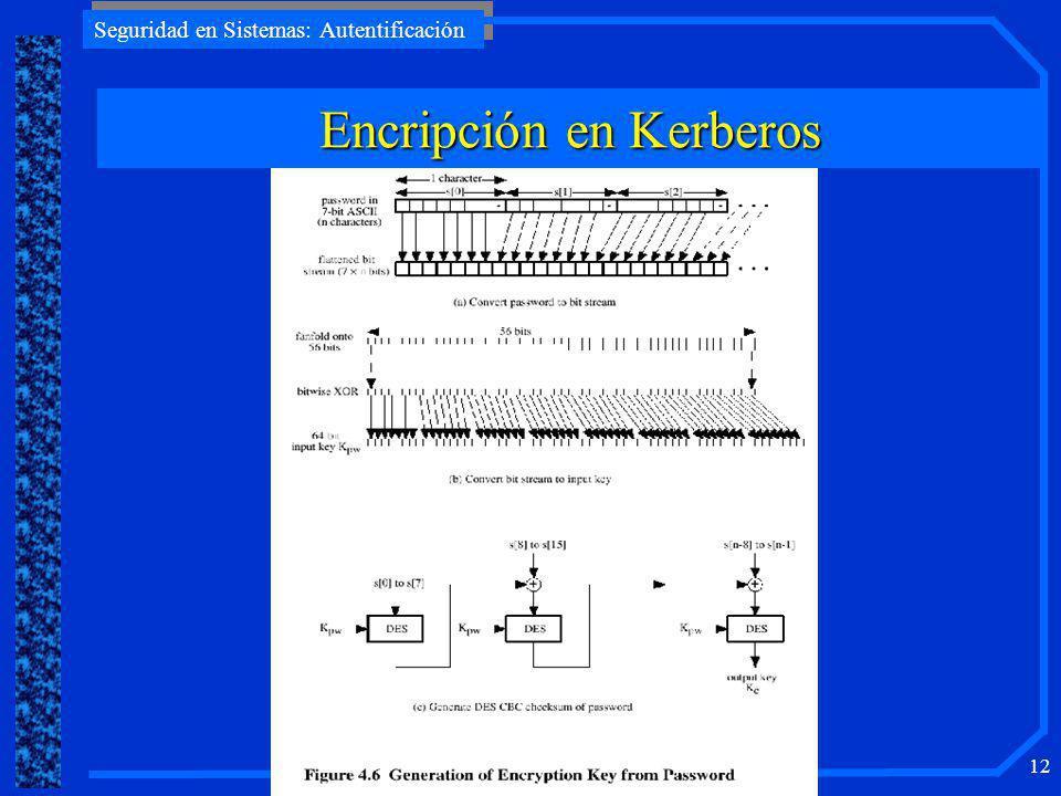 Seguridad en Sistemas: Autentificación 11 Dependencia del sistema de encripción (V.4 DES) Dependencia del protocolo de red Orden de los bytes en el me