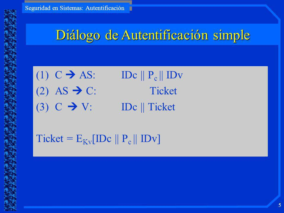 Seguridad en Sistemas: Autentificación 5 (1)C AS: IDc    P c    IDv (2)AS C:Ticket (3)C V:IDc    Ticket Ticket = E Kv [IDc    P c    IDv] Diálogo de Autentificación simple