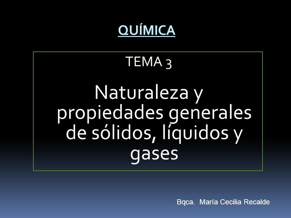 TEMA 3 Naturaleza y propiedades generales de sólidos, líquidos y gases QUÍMICA Bqca. María Cecilia Recalde