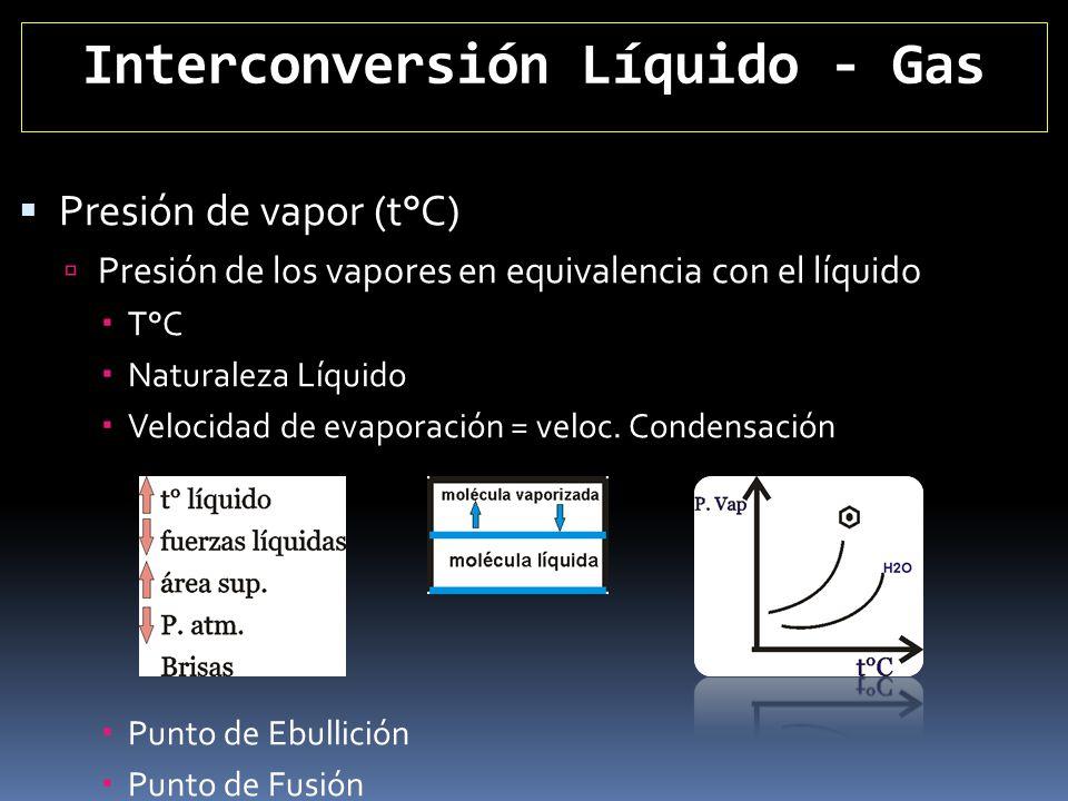 Interconversión Líquido - Gas Presión de vapor (t°C) Presión de los vapores en equivalencia con el líquido T°C Naturaleza Líquido Velocidad de evapora