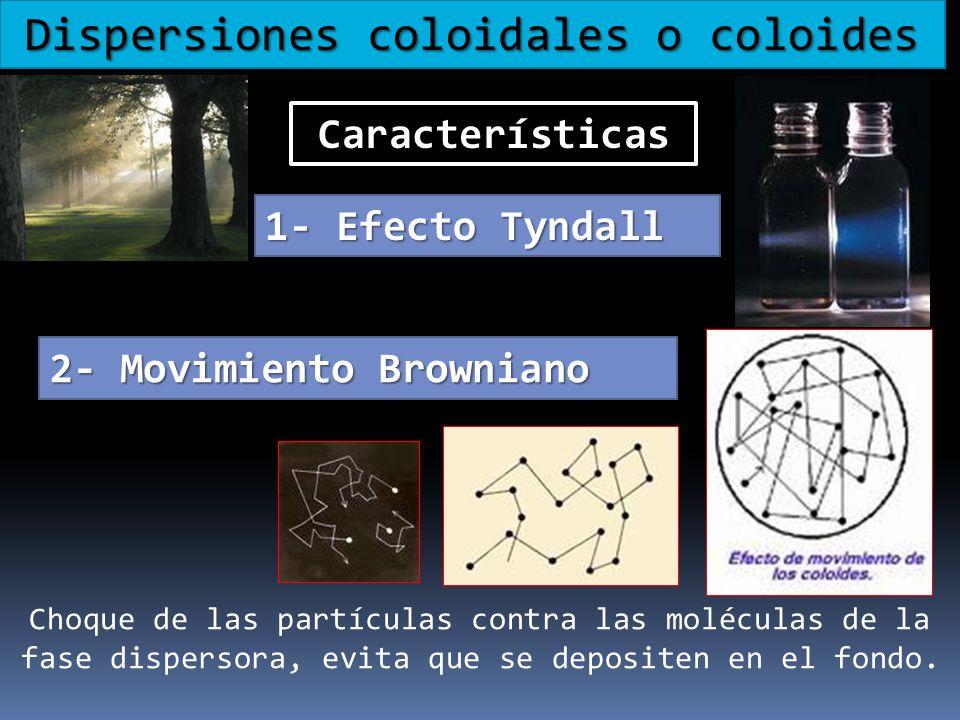 Dispersiones coloidales o coloides Características 1- Efecto Tyndall 2- Movimiento Browniano Choque de las partículas contra las moléculas de la fase
