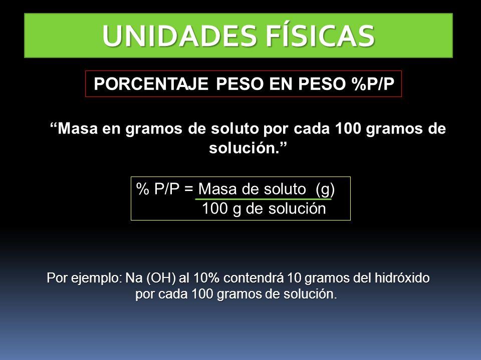 UNIDADES FÍSICAS PORCENTAJE PESO EN PESO %P/P PORCENTAJE PESO EN PESO %P/P Masa en gramos de soluto por cada 100 gramos de solución. % P/P = Masa de s
