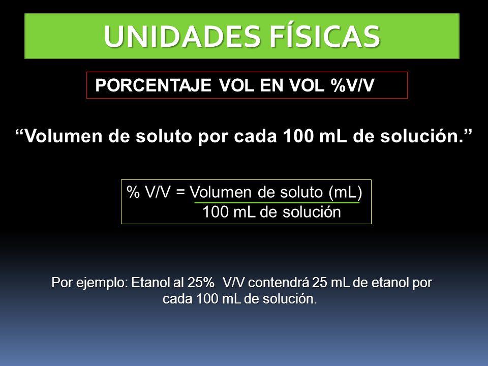 UNIDADES FÍSICAS PORCENTAJE VOL EN VOL %V/V PORCENTAJE VOL EN VOL %V/V Volumen de soluto por cada 100 mL de solución. % V/V = Volumen de soluto (mL) 1