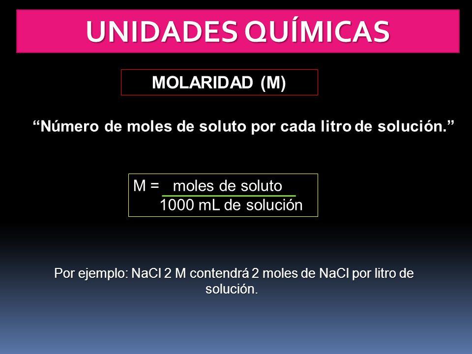 UNIDADES QUÍMICAS MOLARIDAD (M) Número de moles de soluto por cada litro de solución. M = moles de soluto 1000 mL de solución Por ejemplo: NaCl 2 M co