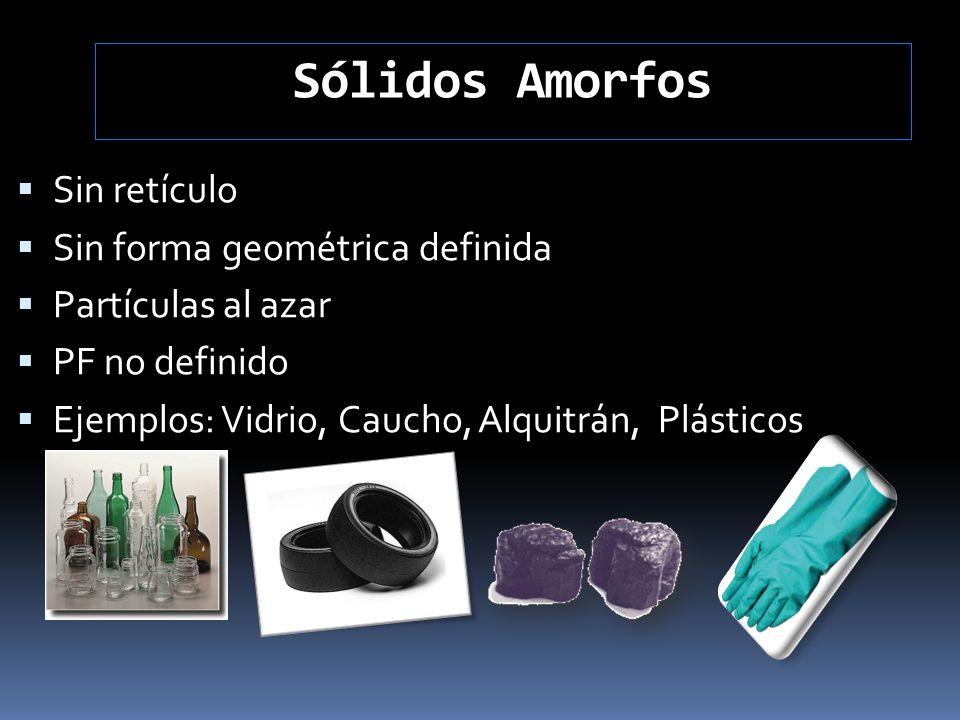 Sólidos Amorfos Sin retículo Sin forma geométrica definida Partículas al azar PF no definido Ejemplos: Vidrio, Caucho, Alquitrán, Plásticos