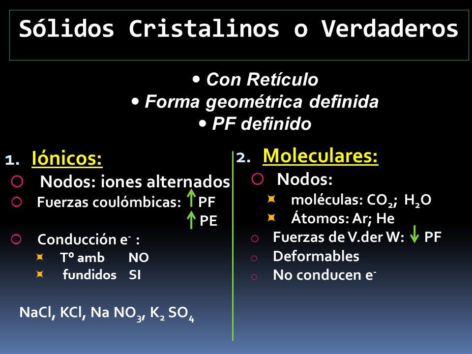 Sólidos Cristalinos o Verdaderos 1. Iónicos: Nodos: iones alternados Fuerzas coulómbicas: PF PE Conducción e - : T° amb NO fundidos SI NaCl, KCl, Na N