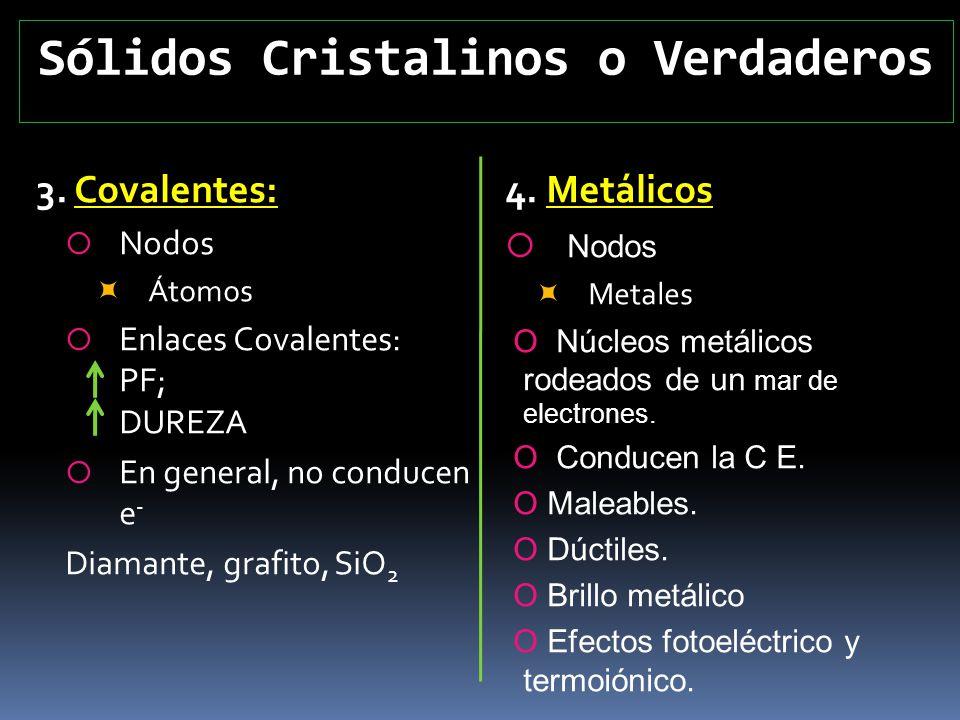 Sólidos Cristalinos o Verdaderos 3. Covalentes: Nodos Átomos Enlaces Covalentes: PF; DUREZA En general, no conducen e - Diamante, grafito, SiO 2 4. Me