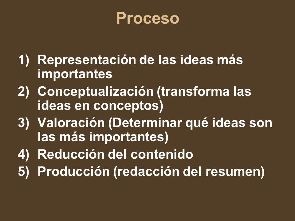 Proceso 1)Representación de las ideas más importantes 2)Conceptualización (transforma las ideas en conceptos) 3)Valoración (Determinar qué ideas son las más importantes) 4)Reducción del contenido 5)Producción (redacción del resumen)