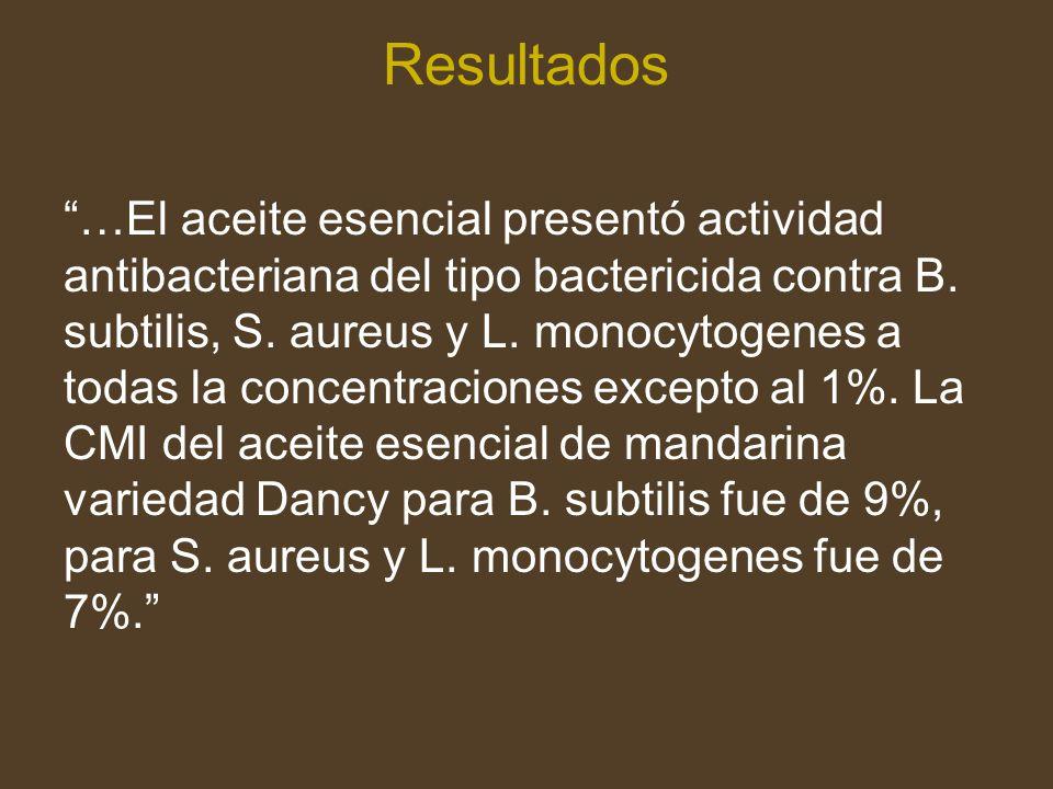 Resultados …El aceite esencial presentó actividad antibacteriana del tipo bactericida contra B.
