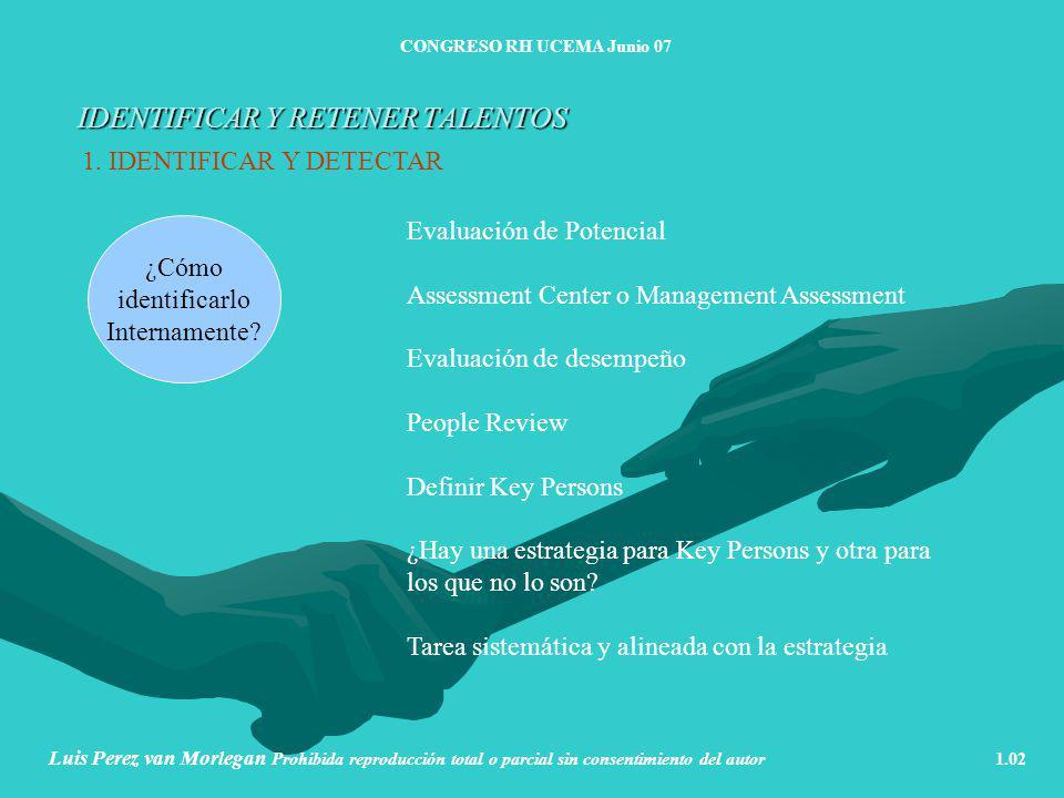 IDENTIFICAR Y RETENER TALENTOS CONGRESO RH UCEMA Junio 07 Luis Perez van Morlegan Prohibida reproducción total o parcial sin consentimiento del autor