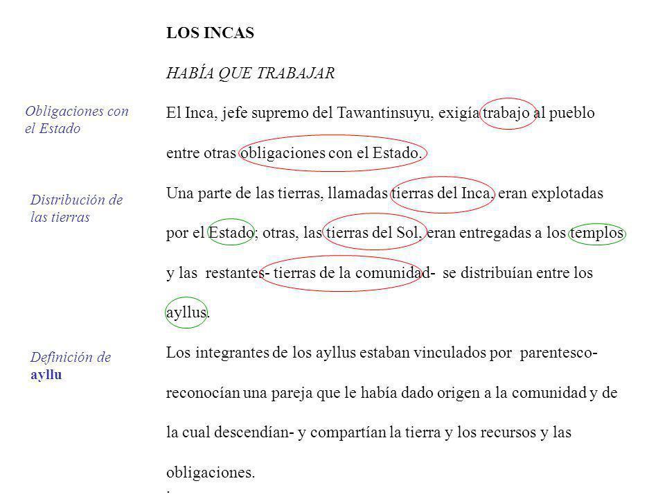 LOS INCAS HABÍA QUE TRABAJAR El Inca, jefe supremo del Tawantinsuyu, exigía trabajo al pueblo entre otras obligaciones con el Estado. Una parte de las