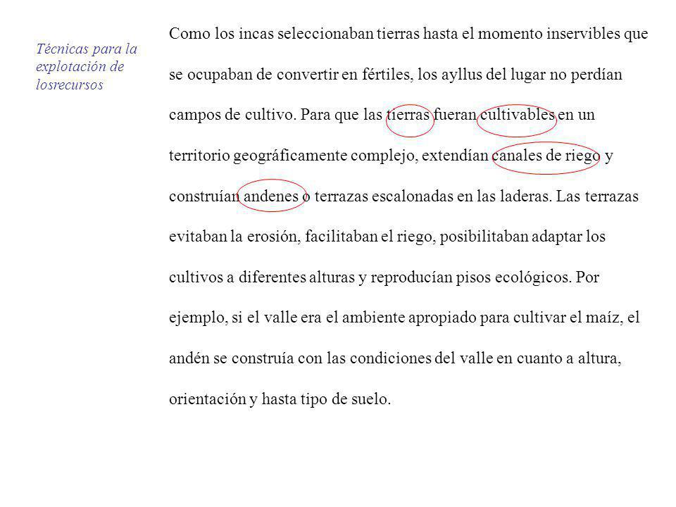 Como los incas seleccionaban tierras hasta el momento inservibles que se ocupaban de convertir en fértiles, los ayllus del lugar no perdían campos de