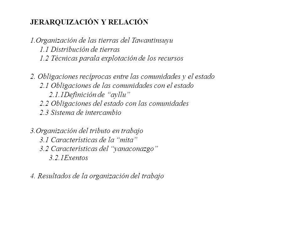 JERARQUIZACIÓN Y RELACIÓN 1.Organización de las tierras del Tawantinsuyu 1.1 Distribución de tierras 1.2 Técnicas parala explotación de los recursos 2.